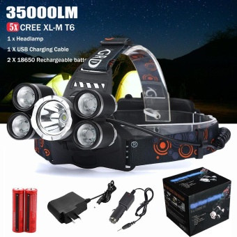 35000LM 5x XM-L T6 LED Headlamp Headlight Flashlight Head LightLamp 18650 - intl