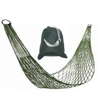 360DSC Portable Nylon Mesh Hammock Hanging Swing Bed with StorageBag for Camping/Hiking/Beach - Army Green Price Philippines