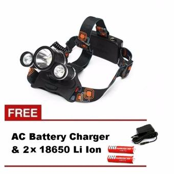3x LED XML-2 T6 HeadLamp Light with FREE 2x 18650 and AC Charger