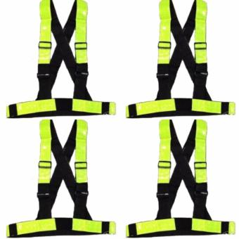 4 PCS. Heavy Duty Reflective Tape Reflector Safety Motor Vest withStrap (Yellow Green)