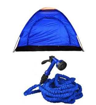 4-Person Dome Camping Tent Bundle with Expandable Garden Hose up to50 ft