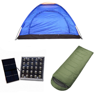 4-Person Dome Camping Tent with Solar LED Lamp and Outdoor SleepingBag Bundle Price Philippines