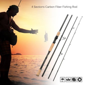 4 Sections Carbon Fiber Portable Baitcasting Spinning Fishing Rod Medium Rod Fishing Pole for Saltwater and Freshwater - intl