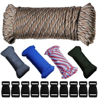 5 Color Polyester Paracord Parachute Cord Lanyard Tent Rope for Outdoor Camping Fishing Survival + 10 Paracord Buckles - intl