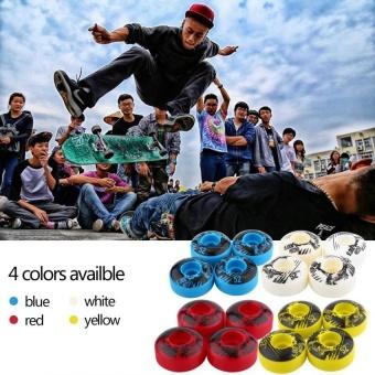 52mm x 30mm 4 pcs/set Outdoor Classic Durable PU Cruiser Longboard Skateboard Wheels (white) - intl