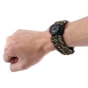 6 In 1 Paracord Military Survival Kit Quick Release BuckleBracelet(camouflage green) - intl