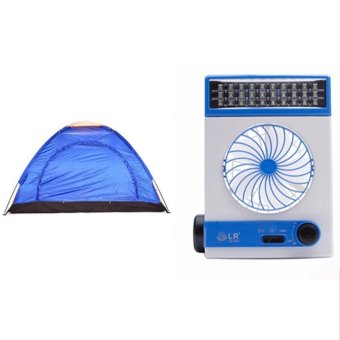 6-Person Outdoor Camping Tent (Multicolor) with Solar Light Fan