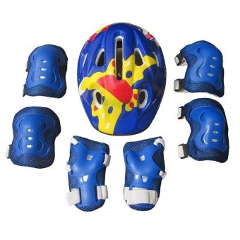 7pcs Kids Elbow Wrist Knee Pads+Helmet for Sport Skateboard RollerSkating Cycling Protective Gear Safety Set(Blue) - intl