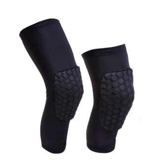 A Pair Professional Compression Crashproof Antislip Knee Shin Sleeves Sports Basketball Kneepads Honeycomb Knee Pads Leg Brace Sleeve Protective Pad Support Guard Protector Gear ,Short XL - intl