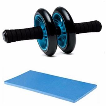 Abdominal Wheel Gym Exercise Roller with Extra Thick Knee PadMat-for Best Abs Workout-perfect Fitness Equipment (Blue)