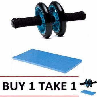 Abdominal Wheel Gym Exercise Roller with Extra Thick Knee PadMat-for Best Abs Workout-perfect Fitness Equipment (Blue) BUY1TAKE1