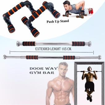 Adjustable Door Way Pull Up Gym Bar (Black/Orange) with Push UpStand (Black/Orange)