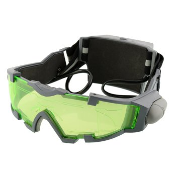 Adjustable LED Night Vision Goggles Eye Shield Green Lens Eye Protector Glasses