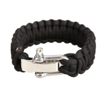 Adjustable Parachute Cord 7-Strand Rope Bracelet Outdoor Survival Black
