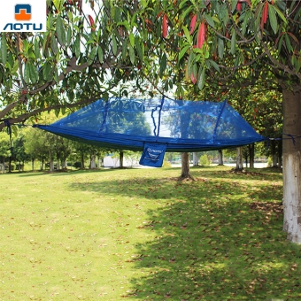 Aotu 2.6 x 1.4M Camping Portable High Strength Parachute FabricSleeping Hammock with Mosquito Net (Blue) Price Philippines