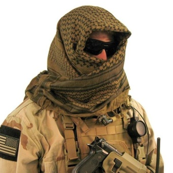Arabic Scarf Military Neck Gaiter Tactical Scarves Muslim Hijab Windproof Desert Shemagh Arab Keffiyeh - intl