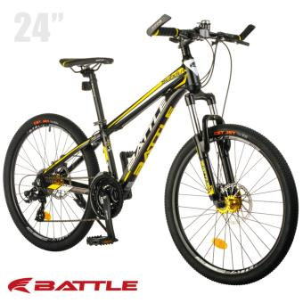 "Battle 500-D 24"" Shimano 24-Speed Alloy Mountain Bike (Satin Black/Yellow)"