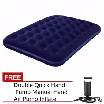 Bestway Inflatable Single Person Air Bed (Blue) with free Double Quick Hand Pump Manual Hand Air Pump Inflate