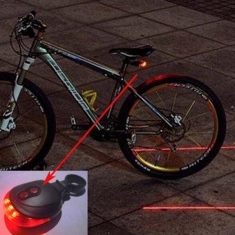 Bicycle 5 LED Light 2 Lasers Night Mountain Bike Tail LightTaillight MTB Safety Warning Bicycle Rear Light Lamp Bycicle Light- intl