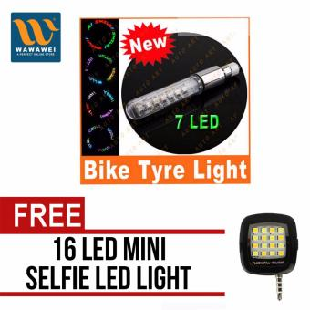 Bicycle and Motorcycle Fitting Lamp Tire Spoke Wheel Valve Flash 7LED Light Neon (multicolor) with free 16 Led Mini Selfie Led Light(Color May Vary) Price Philippines