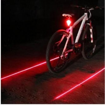 Bicycle LED Light 2 Lasers Night Mountain Bike Tail Light Taillight MTB Safety Warning Bicycle Rear Lamp - intl