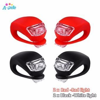 Bicycle Light Front and Rear Silicone LED Bike Light Set - BikeHeadlight and Taillight,Waterproof & Safety Road,Mountain BikeLights,Batteries Included 4 PCS ( 2 x Red 2 x Black)