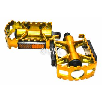 BICYCLE PEDAL ALUMINUM V07 MOUNTAIN BIKE W/ REFLECTOR GOLD