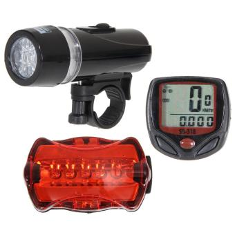 Bicycle Speedometer + Mountain Bike Cycling Light Head + Rear Lamp - Intl