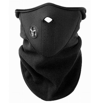 Bike Motorcycle Sports Outdoor Half Face Mask And Neck Protector #0140 (Black)