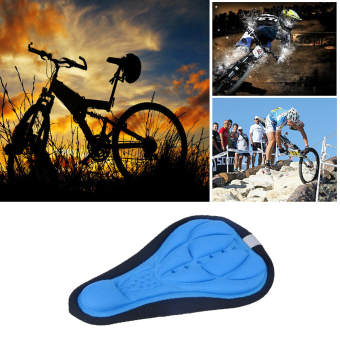 Bike Silicone Saddle Seat Cover Silica Gel Cushion Soft Pad Blue - picture 2