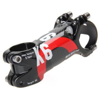 Bikeco Handlebar with 3K Carbon Fiber Ultralight Stem (Red) (80mm)- intl - 3
