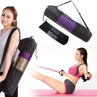 Black Portable Yoga Mat Bag Nylon Pilates Exercise Carrier Mesh Center - intl