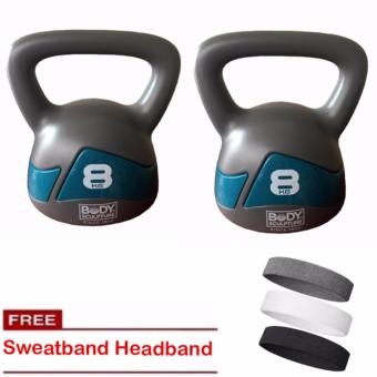Body Sculpture Kettle Bell Exercise Weight - 8kg (Set of 2) withSweat Headband