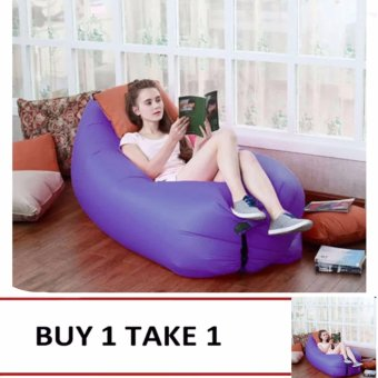 Camping Essentials Inflatable Camping Sofa Banana Sleeping Bed/Bag Hangout Nylon Lazy Bag Air Bed/Chair/Couch/Lounger (Violet) Buy1 Take1