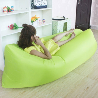 Camping Essentials Inflatable Camping Sofa Banana Sleeping Bed/BagHangout Nylon Lazy Bag Air Bed/Chair/Couch/Lounger (Green)