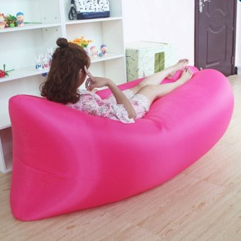 Camping Essentials Inflatable Camping Sofa Banana Sleeping Bed/BagHangout Nylon Lazy Bag Air Bed/Chair/Couch/Lounger (Pink)