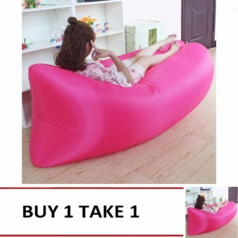 Camping Essentials Inflatable Camping Sofa Banana Sleeping Bed/BagHangout Nylon Lazy Bag Air Bed/Chair/Couch/Lounger (Pink) Buy1Take1