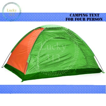 Camping Tent With Carry Bag Good For 4 Person (Multicolor)