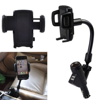 Car Mount Car Smartphone Holder with Dual USB 2.1A Cigarettelighter Charger - intl