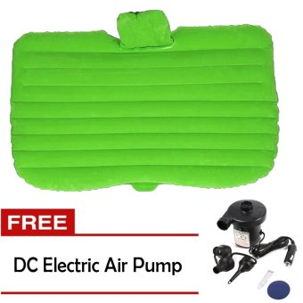 Car Travel Inflatable Air Mattress Seat Bed Camping Extended SleepPillow (Green) with FREE Electric Air Pump