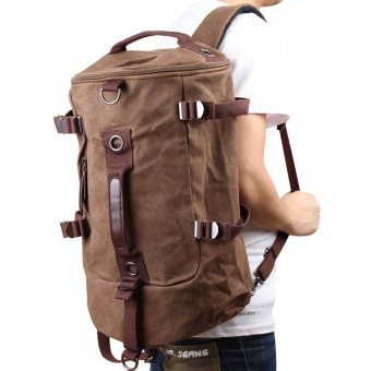 Chic Canvas Man Backpack Rucksack Travel Outdoor Bag Duffle LargeCoffee