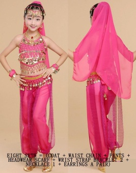 Children's Indian Dance Costumes Belly Dance Children's Performance Costumes Girls Belly Dance Clothing Children's National Dance Clothes Cospaly Costume Size L - intl