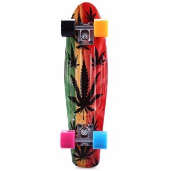 CL-24 22 inch Graffiti Maple Leaf Retro Skateboard Longboard Mini Cruiser - intl - 4
