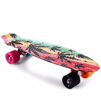 CL-24 22 inch Graffiti Maple Leaf Retro Skateboard Longboard Mini Cruiser - intl - 2