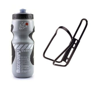Combo Set Discovery Bike Sports Drinking Water Bottle #0027 (Gray)with Alum Alloy Bike Water Bottle holder #0276 Black Price Philippines