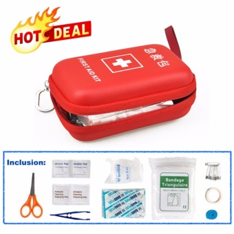 Complete Travel Size Emergency First Aid Kit Bag - Red