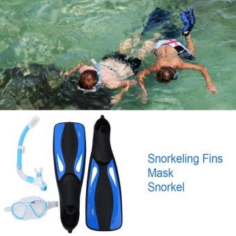 Philippines | Copozz Pro Adult Snorkeling Purge Valves Mask Tube Long Fins SetScuba Diving Gear Kit (Blue) - intl Flash Sale