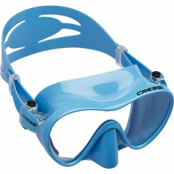 Cressi F1 Blue Frameless Scuba Diving Mask Tempered Glass Single Lens One Window Low Volume Snorkeling Swimming Mask