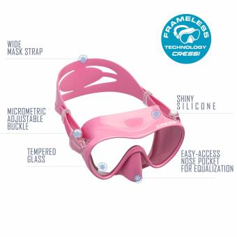 Cressi F1 Pink Frameless Scuba Diving Mask Tempered Glass SingleLens One Window Low Volume Snorkeling Swimming Mask - 4