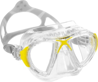 Cressi Nano Crystal Clear/Yellow Diving Mask Free Diving Mask Snorkeling Mask